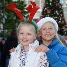 Ella Kean (left) and her  best friend Ella Reid-Blair (both 8) play in the Octagon in Dunedin...