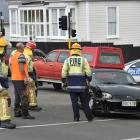 Emergency services at the crash scene today. Photo Gregor Richardson