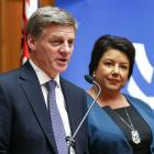 Bill English and Paula Bennett speak to media during a press conference at Parliament before...