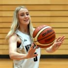 Junior Tall Ferns guard Nicole Ruske (17) chills out at the Edgar Centre yesterday after...