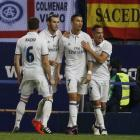 Real Madrid players celebrate a Cristiano Ronaldo (second from right) goal earlier this season....