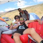 Campers (from front) Phil Ellis, Josh Gatonyi  and Malcolm Kavanagh, all of Christchurch, get...