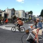 A group of about 30 cyclists takes part in a critical mass cycling event in Wanaka on Wednesday...