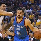 Steven Adams in action last year against Golden State Warriors. Photo: Reuters