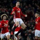 Manchester United's Zlatan Ibrahimovic celebrates scoring against Liverpool. Photo Reuters