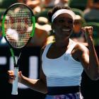 Venus Williams celebrates her win over Kateryna Kozlova. Photo Reuters