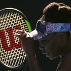 Venus Williams reacts during her women's singles semifinal match against Coco Vandeweghe. Photo:...