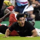 All Black winger Nehe Milner-Skudder after scoring a try against France. Photo: Reuters