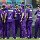 Amy Satterthwaite (middle) celebrates with team mates after taking a hat-trick in the Women's Big...