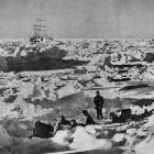Drifting icefields of the Weddell Sea, photographed by Frank Hurley of the Shackleton Expedition....