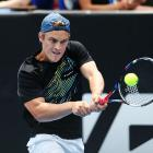 Finn Tearney returns a shot from Robin Haase at the ASB Classic. Photo: Getty Images