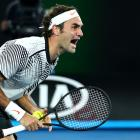 Roger Federer celebrates his victory over Rafael Nadal. Photo Getty