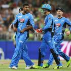 Ish Sodhi celebrates one of his six wickets during last night's BBL game. Photo: Getty Images