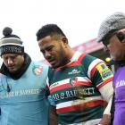 Manu Tuilagi makes his way off the field after being injured playing for Leicester. Photo: Getty...