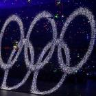 The Olympic rings are lifted during the opening ceremony. (AP Photo/Ricardo Mazalan)