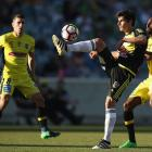 Gui Finkler of the Phoenix clears the ball during the round six A-League match between the...