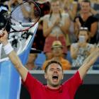 Stan Wawrinka celebrates after having to fight through the first round at the Australian Open....