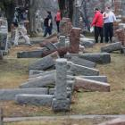 More than 170 Jewish headstones were toppled in a vandalism attack on Chesed Shel Emeth Cemetery...