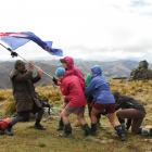 Members of a walking trail erect a flag on Mt Moko at the 2012 Otago Goldfields Cavalcade. Photo...