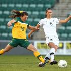 Abby Erceg (right) in action for the Football Ferns against Australia. Photo: Getty Images