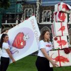 New Zealand Anti-Vivisection Society members Tara Jackson (left) and Cressida Wilson deliver...