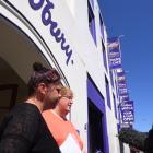 Dunedin Cadbury Factory machine operators Teresa Gooch and Donna Bouma spoke to media outside the...