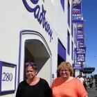 Cadbury factory machine operators Teresa Gooch (left) and Donna Bouma in Cumberland St yesterday....