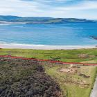 The  beachfront property (marked in red) at Curio Bay which has been put on the market with...