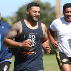 Robbie Magasiva (centre) trains for the Partners Life Dual Triathlon with teammates Leituva'a...