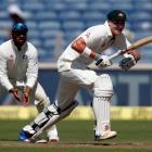 Matt Renshaw bats for Australia against India. Photo: Reuters
