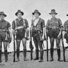 Some North Otago boys of the 23rd  Reinforcements preparing to go on night operations. From left:...