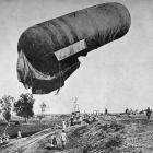 A balloon being used for aerial observation being launched near Monastir in the Balkans. - Otago...