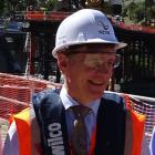 Prime Minister Bill English visits  the Kawarau Falls Bridge project  yesterday. Photo: Tracey...
