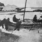 Sir Ernest Shackleton setting out in a small boat from Elephant Island on an heroic 750 mile...