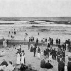 Surf bathers at Taylor's Mistake beach near Sumner, Christchurch. — Otago Witness, 7.2.1917.
