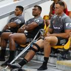 Israel Dagg  sits on the bench after being injured  during a Super Rugby match between the Reds...