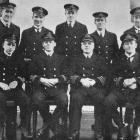 New Zealand engineer officers on H.M.S. Avenger. Back row (from left): Engineer Sub-lieutenants H...