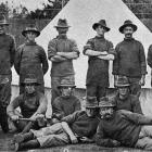Home service men working at Awapuni Military Camp. One is blind in one eye, one has a cork leg...
