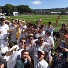 Students show their support for the Black Caps by chanting at the test match against South Africa...