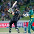 Martin Guptill slammed 11 sixes in his innings of 180 not out against South Africa. Photo Getty