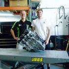 Seth Devereux (left) and Shane Richardson, get ready to rebuild a Kawasaki race engine for the...