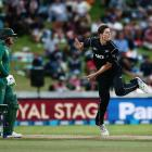 Mitchell Santner in action for New Zealand against South Africa. Photo: Getty Images