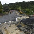 A slip in Morris Rd, Fairfield, has required $750,000 of work to repair. Photo by Gerard O'Brien.