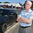 Mosgiel resident Alistair Finnie in Gladstone Rd South yesterday, where a vehicle was illegally...
