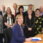 The announcement of a more than $1.5million fund for Otago schools are (front sitting) Otago...