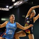 Southern Steel goal defence Te Huinga Selby-Rickit (left) is beaten to the ball by Waikato-Bay of...