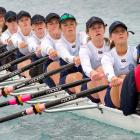 Hilda's Collegiate on their way to a bronze medal in the under-15 coxed octuple sculls stroked by...