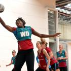 Jhaniele Fowler-Reid hauls in the ball at a Southern Steel training at the Edgar Centre last year...