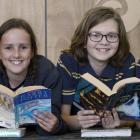 Otago Kids' Lit Quiz runners-up, Tahuna Intermediate Team C pupils (from left) Millie Todd (11),...