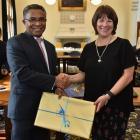 Timor Leste Prime Minister Dr Rui Maria de Araajo and  University of Otago vice-chancellor Prof...